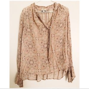 Lucky Brand Front Tied Blouse with Flared Sleeves